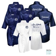 Items similar to Set of 5 Satin Robes with Monograms on Front and Titles on Back, Bridesmaid Robes, Above the Knee Length Bridesmaid Robes on Etsy Blue Wedding, Dream Wedding, Wedding Summer, Nautical Wedding, Church Wedding, Bridesmaid Robes, Bridesmaid Slippers, Bridal Party Robes, Perfect Photo