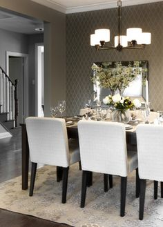 Nepean Residence contemporary dining room - Salle A Manger Interior Desing, Home Interior, Dining Room Table, Dining Chairs, Dining Rooms, Home Improvement Center, Diy Home Decor, Room Decor, Banquette