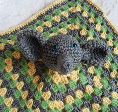 Elephant security blanket - Elephant blanket - Baby shower gift - Baby boy blanket - Crochet blanket - Gray green yellow elephant by bellafarfallaboutiqu. Explore more products on http://bellafarfallaboutiqu.etsy.com