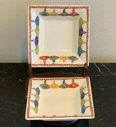 GIEN France Taffetas  Multicolor Tassels Design Square Ashtrays #Gien Tassels, Decorative Boxes, Pottery, France, Ebay, Design, Ceramica, Tassel, Pots