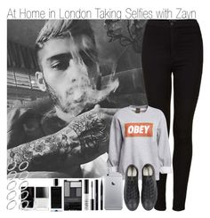 """At Home in London Taking Selfies with Zayn"" by elise-22 ❤ liked on Polyvore featuring Topshop, OBEY Clothing, Converse, Stila, shu uemura, NARS Cosmetics, Wet n Wild, Agonist, Butter London and ASOS"