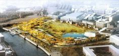 Zaryadye Park   bleaching out and fading that part of the surrounding context which is less relevant to your design. This about creating a natural landscape. The image reinforces the idea of continuing the surrounding greenery into the parkland design proposal.