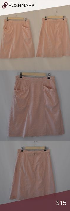 American Eagle pink Swiss dot skirt American Eagle dusty pink Swiss dot cotton skirt size 2. In EUC, front pockets and zip back with clasp enclosure. Fully lined. All 100% cotton American Eagle Outfitters Skirts Midi