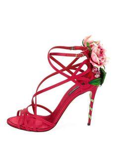 Keira rose-applique satin stiletto sandals Dolce & Gabbana G131ak