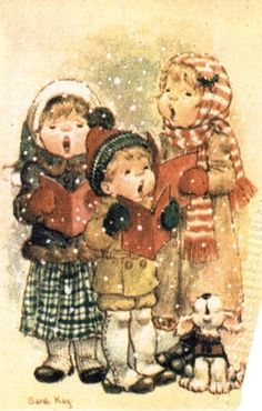 Sarah Kay - Bobby, Monica and I went carolling one year when we were small. We bought my mom a little lantern from this shop. I'm sure she didn't know what to do with it but she loved it anyway. She always had the heart of a mom. Sarah Key, Vintage Christmas Cards, Xmas Cards, Vintage Cards, Vintage Postcards, Holly Hobbie, Christmas Scenes, Christmas Carol, Christmas Pictures