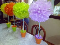 Centros de mesa de papel multicolor