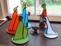 Christmas in July Stained glass nativity scene handcrafted in Southern USA Appalachia
