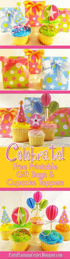 FREE Printable Cake Toppers and Matching Gift Bags