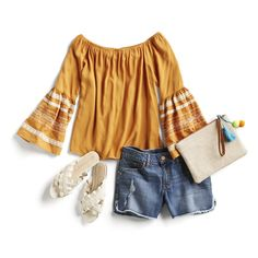 Spring Style Outfit Ideas: Festival style I love this yellow top!