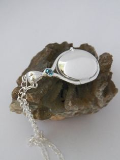 925 Sterling Silver 4 mm Aquamarine Locket H2O Just by gmpjewelry, $89.77