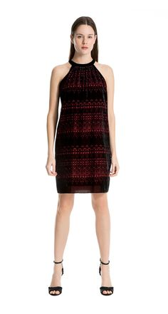 Max Studio Womens Smocked Top Sleeveless Dress with Velvet Bodice