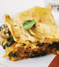 Pumpkin Turkey Lasagna with Spinach & Béchamel Sauce