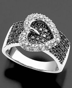 Sterling Silver Ring, Black and White Diamond Heart Buckle Ring (3/4 ct. t.w.)