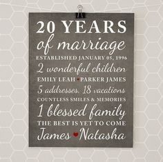 Anniversary Gifts for 20th Anniversary, 20 Year Anniversary Gift, Custom Art, Kids Names, Family, Blessed, Home Decor, Personalized