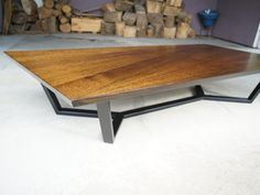 """Parallelogram"" Coffee Table by POLYMATH - Coffee Table, Timber, Metal, Steel, Vic Ash, Custom"