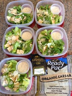 Meal prep for the week! Organic Caesar salads ready to go!