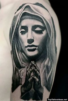 Joli Dessin De La Vierge Marie De Profil Tatoue Sur Le Bras D Un