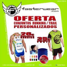 OFERTA Prendas Personalizadas RUNNING y TRAIL RUNNING !!! //pedido mínimo 5 conjuntos //diseño Gratis //REGALO Braga Tubular  + info: www.fasterwear.com