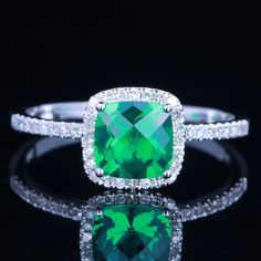 SOLID 14K WHITE GOLD 1CT LATTICE EMERALD  DIAMOND ENGAGEMENT WEDDING RING #affinityhomeshopping #SolitairewithAccents