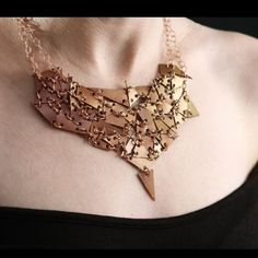 BOGO SALE Geometric Necklace, statement Necklace, Triangle Necklace, BOGO Necklace Earrings set, brown leather triangles