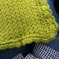 ::New:: Apple green baby blanket. Crocheted using the grid stitch with a scalloped edge.