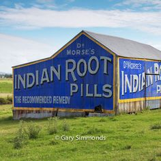 Blue Barn with advertising