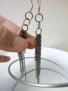 Trinity Chain - 3 inch long Recycled Chain Earrings via Etsy
