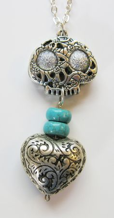 Silver Skull Turquoise Steampunk Necklace, watch parts Steam Punk, Gear, Cog by…
