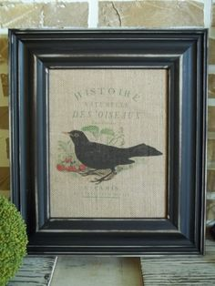 Burlap Print  Black Bird with French Writing by SimplyFrenchMarket, $15.00