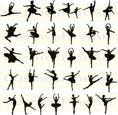 Ballet silhouette digital clipart 31 PNG 31 JPG by CosmosFineArt Ballerina Silhouette, Dance Silhouette, Ballerina Art, Black Ballerina, Ballet Moves, Ballet Dancers, Ballet Tattoos, Dance Tattoos, Gymnastics Poses