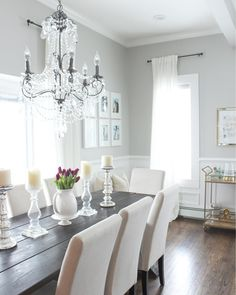 Most Design Ideas White Dining Room Sideboard Pictures, And Inspiration – Modern House Rustic Dining Room Sets, Dining Room Furniture Sets, Dining Room Design, Farmhouse Dining Room, Grey Dining Tables, Dining Room Inspiration, Dining Room Paint, Living Room Grey, Grey Dining Room