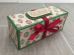 Really useful, large gift box using Warmth and Cheer DSP by Stampin' Up. Christmas Craft idea video tutorial.