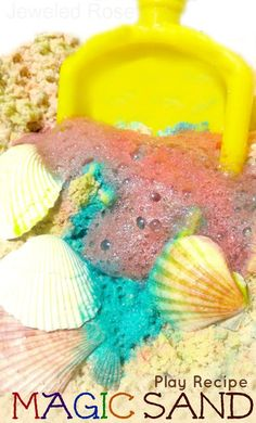 MAGIC Sand play recipe from Growing a Jeweled Rose.  MAGIC Sand is easy to make and SO FUN for kids!  Make colorful magic castles, dig for shells in fizzing sand mountains, toss around bubbling sandballs..... so many ways to play!