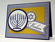 The Pursuit of Stampin'ess: Jewish Celebrations - Shalom card by Stampin Up and me Hanukkah Greeting, Hanukkah Cards, Hannukah, Holiday Cards, Christmas Cards, Jewish Greetings, The Best Of Christmas, Jewish Celebrations, Handmade Card Making
