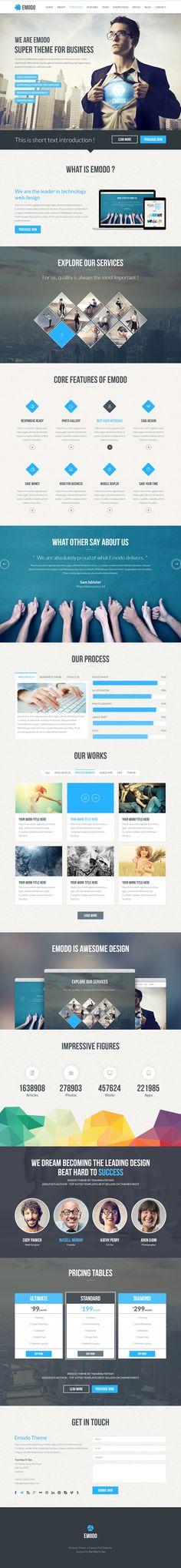 Emodo Premium One-Page Business  #psdtemplates #creativetemplates #businesstemplates #html5templates #responsivetemplates