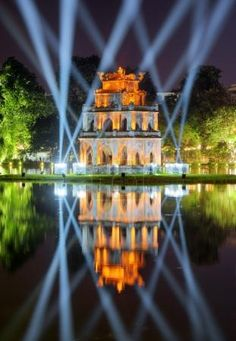 Night view of the Turtle Tower on the Hoan Kiem Lake. Hanoi - TouCanvas