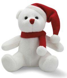 Kerst pluche beer met rode muts en sjaal
