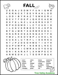 Printable Fall Word Searches for Kids - Tree Valley Academy