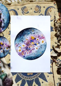 Flower Planet laser printed in high quality on 200gsm A3 paper. Only prints are for sale. Original was painted in watercolours. Flowers were carefully collected from my garden and were dried between the sheets of an old Astrology book. Please do not hesitate to contact me if you have any