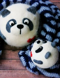 Cute panda. Felted panda. Cute toys. Felted toys