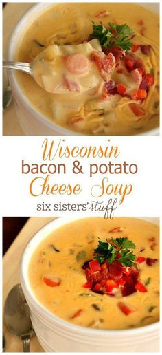 Wisconsin Bacon & Potato Cheese Soup Recipe from Six Sisters' Stuff - Warm, cozy and perfectly cheesy, this soup is the perfect fall comfort food. #souprecipe #winterfood