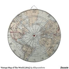 Vintage Map of The World (1875) Dartboard With Darts