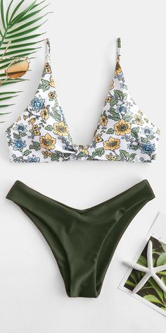 Padded swimwear Floral Plunging Bikini Set - Hazel Green Style: Fashion Swimwear Type: Bikini Gender: For Women Material: Nylon,Polyester,Spandex Bra Style: Padded Support Type: Wire Free Collar-line: Plunging Collar Pattern Type: Floral
