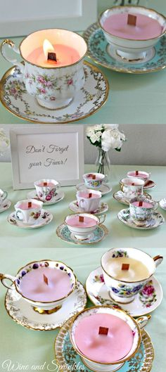 There is nothing that adds a fun vintage flair to a shower quite like these DIY teacup candles. And they are so versatile! I will be using them for a Beauty and the Beast themed bridal shower, but they could just as easily be used for a tea party, Jane Austen Shower, or Mother's Day Brunch!