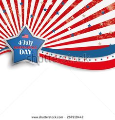 Independence day retro flyer with silver star. Eps 10 vector file.