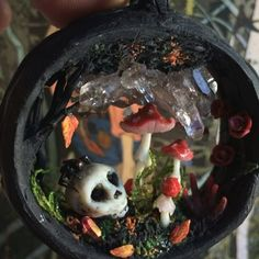 Halloween inspired magic amanita portal necklace with high grade smokey quartz ❤️ Can you see the dead man's fingers mushroom in there?☺️
