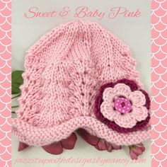 Lacy Baby Hat3-6 mos Pink Hat Blackberry Flower Caron Simply Soft. Sweet and stylish with elegant two-color flower and polkadot button to seal the deal! This is just too cute for words! Adorable baby lacy hat is made with Caron Simply Soft acrylic yarn for easy care and it is just so soft and cuddly. Lacy had is in a scalloped pattern which creates a beautiful line on the bottom.