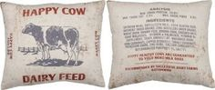 Our plush Happy Cow Feed Sack Pillow is double sided! This feed sack inspired throw pillow is a delightful addition to any farmhouse!