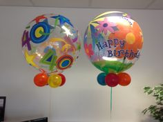 Colourful birthday bubble balloons