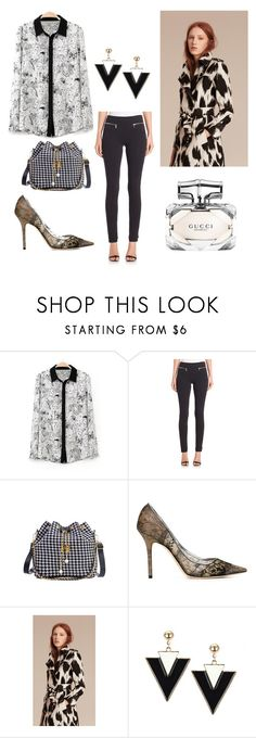 """""""Untitled #1300"""" by krissybob ❤ liked on Polyvore featuring WithChic, Roberto Cavalli, Jimmy Choo, Burberry and Gucci"""